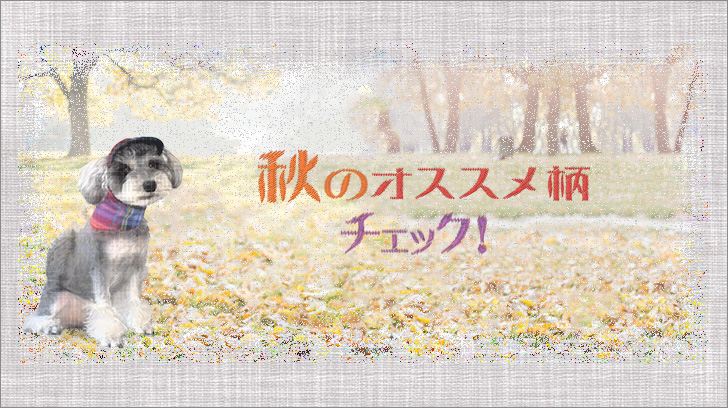 犬の秋のバンダナチェック柄